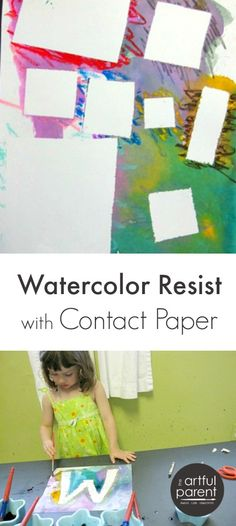 Watercolor resist with contact paper is a fun art project for kids. Plus they can use their scissor skills to cut any shape desired from the contact paper.