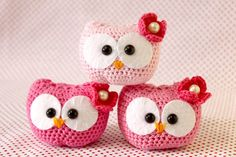 Mini corujas de crochê by Carolina Crochet #owl #crochet
