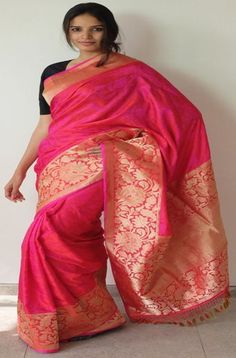 Red & Pink Tanchoie with heavy border - WeaverStory - 1