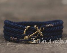 SALE! Anchor Bracelet / Navy Blue Bracelet / Sea Nautical Cotton Bracelet / Marine Rope Bracelet / Mens Bracelet Women and Men Rope Bracelet