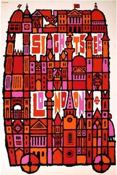 By Abram Games, 1968, Sightsee London. #illustration #icons #bus