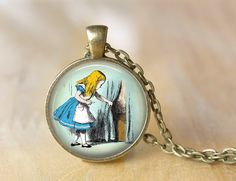 Alice in Wonderland, Art Pendant, Necklace or Key Chain by ShakespearesSisters on Etsy