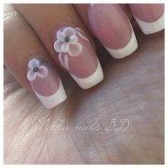 Nikka nails, white french, 3D flower