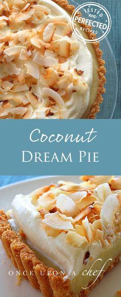 Coconut Dream Pie - soft, creamy, coconut flavored pie! #coconutrecipes #coconutdreampie #dreampierecipes #dessertrecipes #testedandperfected