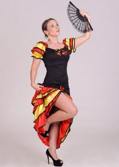 Are you ready to rumba? It's fiesta time so get your party dress on and join the fun! A full length Spanish style off the shoulder black dress with red and yellow frilled sleeves and detail to the skirt. So get ready to do the Rumba and maybe even a bit of Flamenco dancing too! Ideal for #Halloween, #FancyDress, Cosplay, Fiestas, etc. Spanish Style, No Frills, Fancy Dress, Off The Shoulder, You Got This, Cosplay, Yellow, Skirts, Dancing