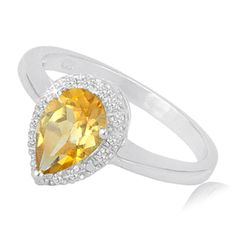 $24.99 - 1 Carat Citrine and Diamond Accent Pear Shaped Ring in Sterling Silver
