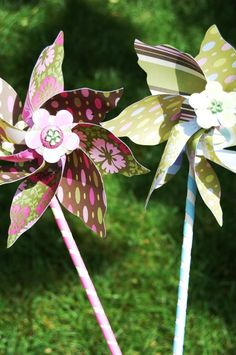 pin wheels. Check tutorial, great pictures to follow! Try these with laminated paper for the garden!