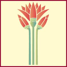"""Egyptian Lotus Stencil.Egyptian Lotus  Single overlay stencil measuring 5"""" x 10"""".  Our Egyptian Lotus Stencil is the stylish botanical centerpiece of our Egyptian Stencils collection. It features two lotus buds and one lotus in full bloom. Gather up the blooms of this ancient Egyptian flower for use in a variety of applications including walls, lampshades, furniture, and clothing."""
