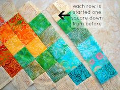 Sew a table runner inspired by the Sochi Olympics Easy patchwork, using scraps or batik fabric. Seminole Patchwork, Baby Patchwork Quilt, Patchwork Quilt Patterns, Patchwork Cushion, Crazy Patchwork, Patchwork Jeans, Table Runner Tutorial, Table Runner Pattern, Patchwork Table Runner