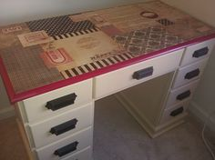 Modge Podge Desk   DIY/Furniture Fix ups