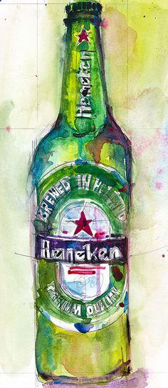 Heineken Beer Original Watercolor Print Size  8.5  x. by dfrdesign, $23.00