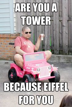 """Pick-Up Lines- """"Are you a tower, because eiffel for you."""" Why did I laugh so hard?!?!?"""