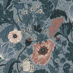 Anemone Wallpaper from the Apelviken Collection by Midbec Wallpapers is a dark floral wallpaper with orange flowers and green and blue leaves.