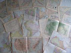Vintage Map Lot Vintage Map Pages Map Lot Antique by vintage541