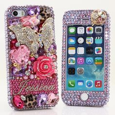 Bling Cases, Personalized Name Custom Made crystals purple butterfly design case for iphone 5, iphone 5s, iphone 6, Samsung Galaxy S4, S5, Note 2, Note 3, LG, HTC, Sony – LuxAddiction.com