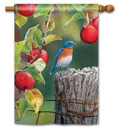 Magnet Works House Flag - Orchard Bluebird Decorative Flag at Garden House Flag at GardenHouseFlags