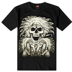 Man Special Design Skull Print Novelty T Shirt 3D View in Dark