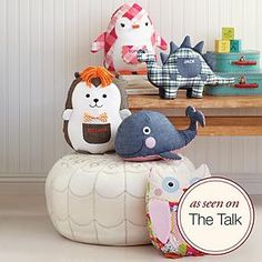 Pieced plush toys ~ Designed for shared giggles and whispered secrets, these soft toys are crafted for friendship's long haul. Timeless details like textured fabrics, a patched pocket for little treasures, and a beanbag bottom give them a vintage feel.
