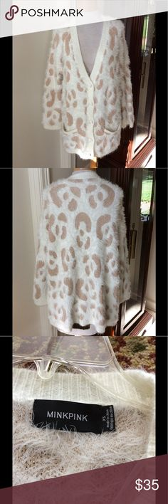 Mink Pink Sweater Super soft and plush. Embellished with gold thread patches. MINKPINK Sweaters Cardigans