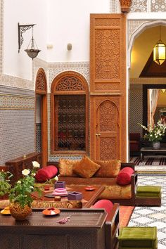 """""""Ornate"""" is an understatement in this tiled, painted and carved-wood lobby. Riad au 20 Jasmins (Fez, Morocco) - Jetsetter"""
