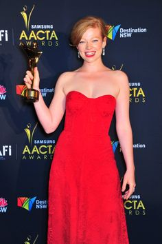Sarah Snook, winner of the Samsung #AACTA Award for Best Lead Actress in a Television Drama - SISTERS OF WAR, ABC1. #SarahSnook