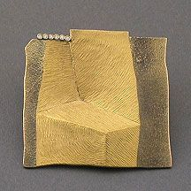 "gold.   Namu Cho ""Work#3"" pin, 24k fused on 18k,  diamonds NC-1-0006."