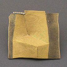 "gold. Namu Cho ""Work#3"" pin, 24k fused on 18k, diamonds NC-1-0006."