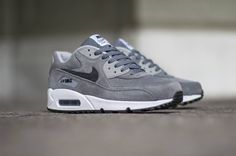 Nike Air Max 90 Leather Premium   Cool Grey / Anthracite   Wolf Grey