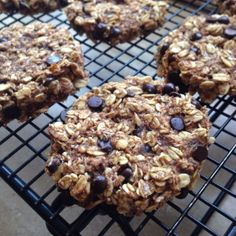 Banana Oatmeal Cookies(Makes 8. Serving size is 2 and replaces 1 Yellow container on the 21-Day Fix) Ingredients: Nonstick cooking spray 1 cup Old Fashioned Rolled Oats 2 tsp ground Cinnamon 1/4 tsp Sea Salt 2 medium ripe Bananas, mashed 1/4 cup semi-sweet chocolate chips 1/4 cup unsweetened shredded coconut