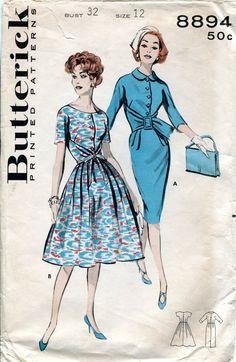 Vintage 1950s Dress Pattern Butterick 8894 Size by downthestreet, $15.00