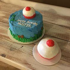 Fishing first birthday cake. Bobber cake