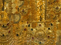 Close-up of Gold Jewelry in the Gold Souk, Deira, Dubai, United Arab Emirates, Middle East Photographic Print by Amanda Hall at AllPosters.com
