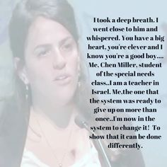 #WomanCrushWednesday -- Chen Miller is a special education teacher in Israel. Her story however is extra inspiring because she was also a student in special education classes. Look up Chen Miller and find this lovely video on Facebook Page Soul Mama Miller reveals that she couldnt read or write until she was in 5th grade. Because of this she felt as if she would never amount to anything.  Now that shes a teacher Miller explains how she uses her own experience to help her students…