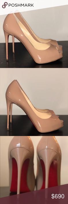 """Christian Louboutin """"New Very Prive"""" pumps in nude Worn twice, nude patent leather Christian Louboutin pumps with a slender platform and 120mm spike heel. These match everything and can turn any look into a stunning one.  Comes with original dust bag. Christian Louboutin Shoes Heels"""