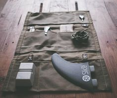 The Northcore Collective #handmade waxed cotton canvas and leather #surfer tool roll. Practical and built to survive
