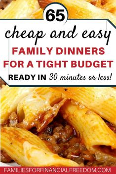 65 quick and cheap recipes for tight budget! Great ideas for cheap dinner recipes! Cheap recipes for one, for two, or for more! Best cheap recipes for college students! Easy cheap recipes for families Cheap Family Dinners, Quick Cheap Meals, Dinner Recipes Easy Quick, Inexpensive Meals, Easy Family Meals, Frugal Meals, Budget Meals, Cheap Recipes, Recipes Dinner