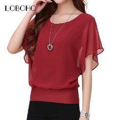 Women Plus Size Casual Summer Chiffon Ruffle Batwing Short Sleeve Blouse  Price: 14.30 & FREE Shipping  #shopping