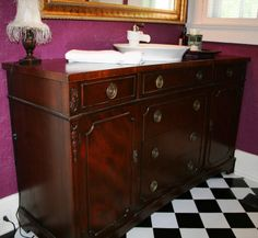 Repurposed Antique Buffet Sideboard Turned Bath Double Sink Vanity