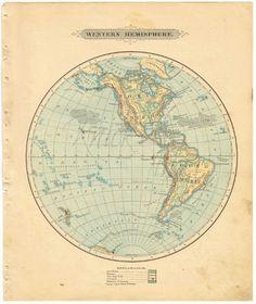 Antique WORLD Map - 1885 WESTERN Hemisphere - Digital Download - Buy 2 Digital Downloads/Get 1 FREE