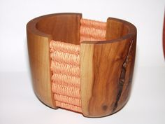 Gefäß mit Flechteinsatz, Apfelbaum Bracelets, Leather, Jewelry, Apple Tree, Turning, Braid, Jewlery, Jewerly, Schmuck