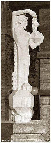 Frank Lloyd Wright. Midway Gardens | Male Sprite holding Octagon inside winter garden
