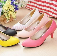 Chic Womens Pumps Mid Heels Pointed Toe Ladies Girls Party Flower Comfort Shoes