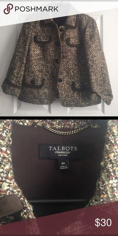 New Talbots Brown Tween Button Up Blazer Jacket 6p Size 6 Petite, brown tweed jacket with front pocket details on front. K Talbots Jackets & Coats Blazers