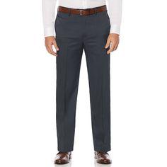 8bb49488b5 oversizeBig & Tall Savane Straight-Fit Crosshatch Stretch Flat-Front Dress  Pants, Men's, Size: 46X30, Dark Grey