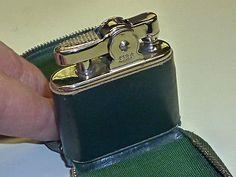 LIDO (KREMER & BAYER) AUTOMATIC POCKET LIGHTER IN LEATHER BAG - 1950 - GERMANY Sammeln & Seltenes:Tabak, Feuerzeuge & Pfeifen:Feuerzeuge:Alt (vor 1970)