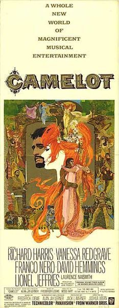 Original movie poster for the 1967 film Camelot  staring Richard Harris, Vanessa Redgrave -- 3 academy award winner (costume, set design and music score -adapted)