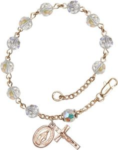 14 Karat Gold Rosary Bracelet features 6mm Crystal Swarovski, Austrian Tin Cut Aurora Borealis beads. The Crucifix measures 5/8 x 1/4. Each Rosary Bracelet is p