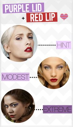 3 ways to wear purple & red makeup