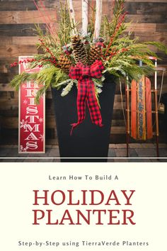 """Using the 36"""" Sonata TierraVerde planter, container designer June Spanier shows step-by-step how to build a holiday arrangement! Learn which greenery to use, how to build visual interest, layer-in texture and play with color in this how-to video and stepwise instruction! #diy #planters #winterplanter #holidayplanter #how-to #video Holiday Crafts, Holiday Ideas, Holiday Decor, Sugar Pine Cones, Christmas Tree Decorations, Christmas Wreaths, Planter Liners, Autism Apps, Winter Planter"""