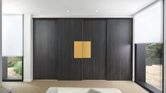 This design is the epitome of a personalised fitted wardrobe comprising four made-to-measure melamine sliding doors with a Zonza and Gold micron lacquer finish. Living Room Cabinets, Bedroom Cupboards, Living Room Storage, Storage Spaces, Schmidt, Sliding Wardrobe Doors, Sliding Doors, Custom Furniture, Furniture Sets